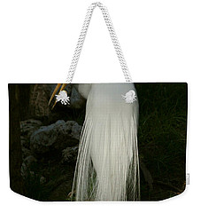 White Egret In The Shadows Weekender Tote Bag by Myrna Bradshaw