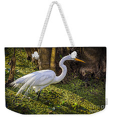 White Egret On The Hunt Weekender Tote Bag by Marvin Spates