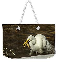 White Egret Snowy Bank Weekender Tote Bag