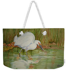 White Egret Wading  Weekender Tote Bag