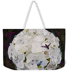 Weekender Tote Bag featuring the painting White Flower And Friendly Bee Mixed Media Painting by Omaste Witkowski