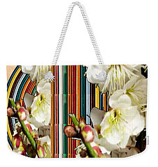White Flower Medley Colorful Rainbow Stripes On The Backdrop Artist Navinjoshi  Weekender Tote Bag