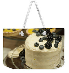 White Frosted Cake With Berries Weekender Tote Bag by Juli Scalzi