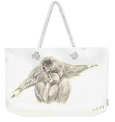 Weekender Tote Bag featuring the painting White Handed Gibbons--mother And Son by Jingfen Hwu
