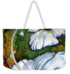 Weekender Tote Bag featuring the painting White Hibiscus by Lil Taylor