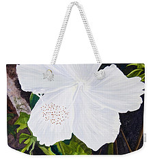 White Hibiscus Weekender Tote Bag by Mike Robles