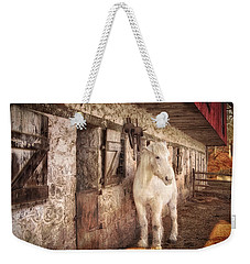 White Horse By An Old Barn Weekender Tote Bag