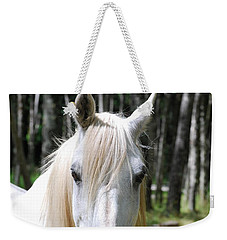 Weekender Tote Bag featuring the photograph White Horse Close Up by Jocelyn Friis