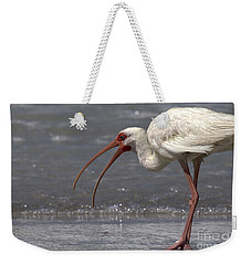 Weekender Tote Bag featuring the photograph White Ibis On The Beach by Meg Rousher