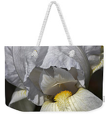 Weekender Tote Bag featuring the photograph White Iris by Joy Watson