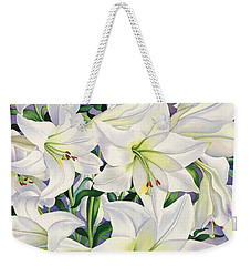 White Lilies Weekender Tote Bag by Christopher Ryland