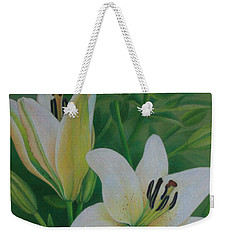 White Lily Weekender Tote Bag by Pamela Clements