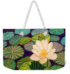 White Lotus Flower Weekender Tote Bag