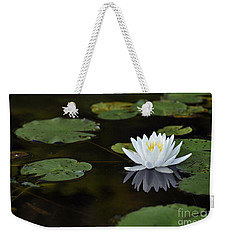 Weekender Tote Bag featuring the photograph White Lotus Lily Flower And Lily Pad by Glenn Gordon