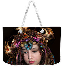 Weekender Tote Bag featuring the digital art White Meat And Bones Tiara by Otto Rapp