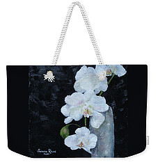 Weekender Tote Bag featuring the painting White Orchid by Judith Rhue