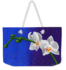 Weekender Tote Bag featuring the painting White Orchids by Laura Forde
