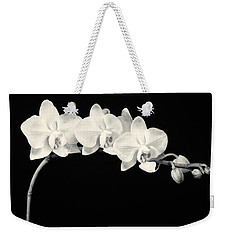 White Orchids Monochrome Weekender Tote Bag by Adam Romanowicz