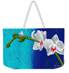 Weekender Tote Bag featuring the painting White Orchids On Blue by Laura Forde