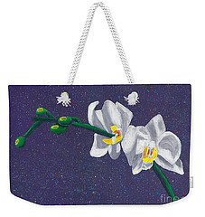 Weekender Tote Bag featuring the painting White Orchids On Dark Blue by Laura Forde