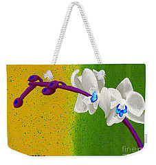 Weekender Tote Bag featuring the painting White Orchids On Yellow And Green by Laura Forde