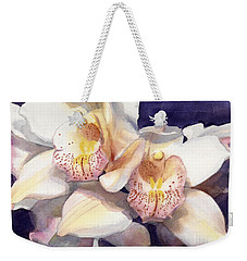 White Orchids Watercolor Weekender Tote Bag by Greta Corens