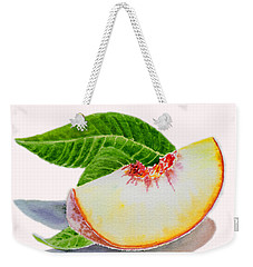 White Peach Slice  Weekender Tote Bag by Irina Sztukowski