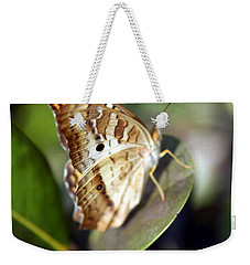 Weekender Tote Bag featuring the photograph White Peacock Butterfly by Greg Allore