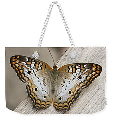 White Peacock Butterfly Weekender Tote Bag by Judy Whitton