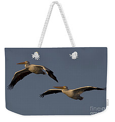 Weekender Tote Bag featuring the photograph White Pelican Photograph by Meg Rousher