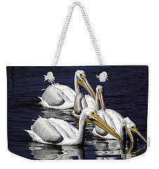 White Pelicans Fishing Weekender Tote Bag