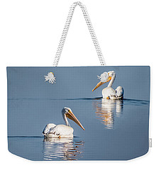 Weekender Tote Bag featuring the photograph White Pelicans by Patti Deters