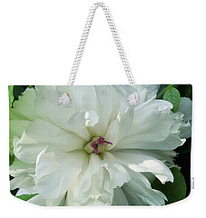 Weekender Tote Bag featuring the photograph White Peonese by Verana Stark