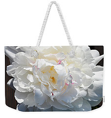 White Peony Weekender Tote Bag by Tine Nordbred