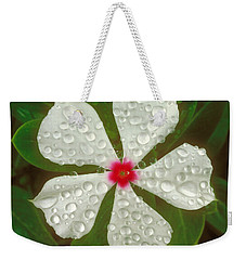Weekender Tote Bag featuring the photograph White Periwinkle by Mark Greenberg