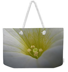 Weekender Tote Bag featuring the photograph White Petunia 2 by Barbara Yearty