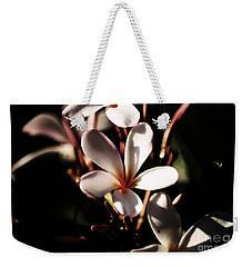 White Plumeria Weekender Tote Bag by Angela DeFrias