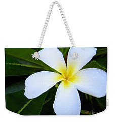 Weekender Tote Bag featuring the mixed media White Plumeria by Anthony Fishburne