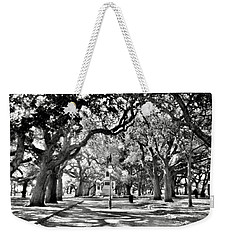 Weekender Tote Bag featuring the photograph White Point Gardens At Battery Park Charleston Sc Black And White by Lisa Wooten