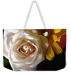 Weekender Tote Bag featuring the photograph White Rose by Meghan at FireBonnet Art