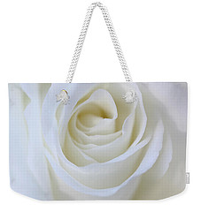 White Rose Floral Whispers Weekender Tote Bag by Jennie Marie Schell