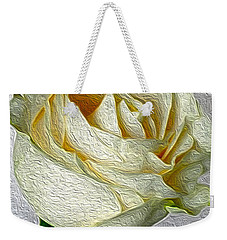 Weekender Tote Bag featuring the photograph White Rose In Oil Effect by Nina Silver