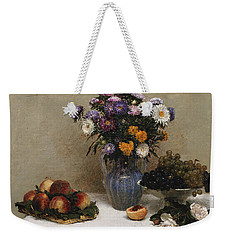 White Roses And Chrysanthemums Weekender Tote Bag by Ignace Henri Jean Fantin-Latour