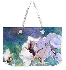 Weekender Tote Bag featuring the painting White Roses In The Shade by Greta Corens