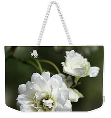 Weekender Tote Bag featuring the photograph White Roses by Joy Watson