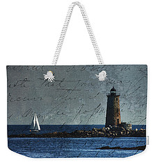 White Sails On Blue  Weekender Tote Bag by Jeff Folger