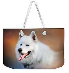 White Samoyed Portrait Weekender Tote Bag by Eleanor Abramson