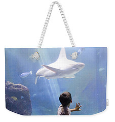 White Shark And Young Boy Weekender Tote Bag