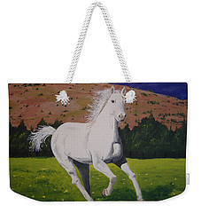 Weekender Tote Bag featuring the painting White Stallion by Norm Starks