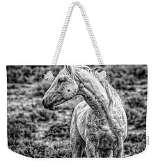 White Stallion Watching Weekender Tote Bag by Joan Davis
